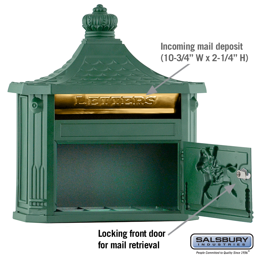 Victorian Mailbox Surface Mounted Green Mailboxes Com