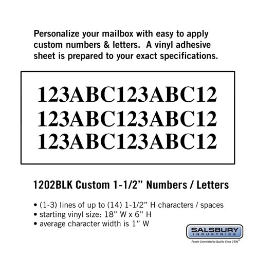 Custom Numbers / Letters - Horizontal - Black Vinyl - 1 5