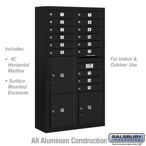 4c Surface Mount Mailbox Black Usps 15 Doors Mailboxes Com