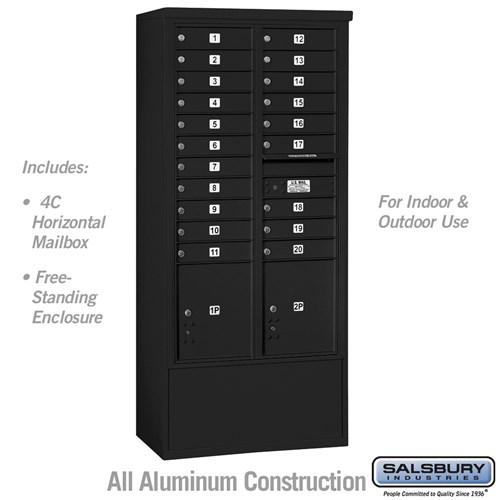 4c Free Standing Mailbox Black Usps 20 Doors Mailboxes Com