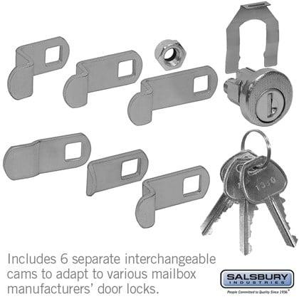 Universal Locks for CBU/NDCBU Pedestal Style Mailbox Door with 3 Keys per Lock - 5 Pack