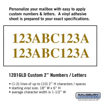 Custom Numbers / Letters - Horizontal - Gold Vinyl - 2 Inches High
