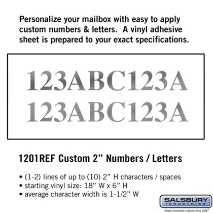 Custom Numbers / Letters - Horizontal - Reflective Vinyl - 2 Inches High