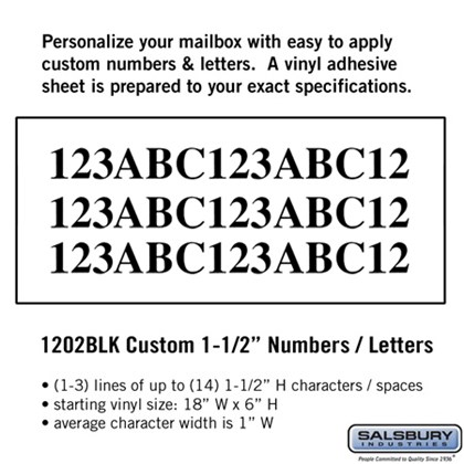 Custom Numbers / Letters - Horizontal 1-1/2