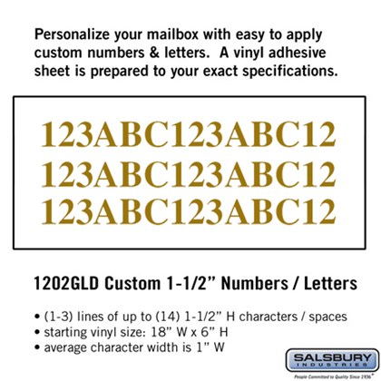 Custom Numbers / Letters - Horizontal - Gold Vinyl - 1.5 Inches High