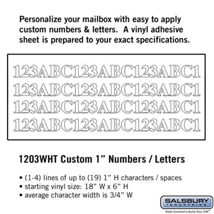 Custom Numbers / Letters - Horizontal - White Vinyl - 1 Inch High