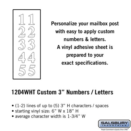 Custom Numbers / Letters - Vertical - White Vinyl - 3 Inches High