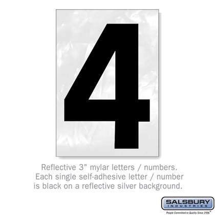 Reflective Number - 3 Inches - 4