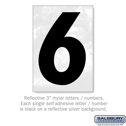 Reflective Number - 3 Inches - 6