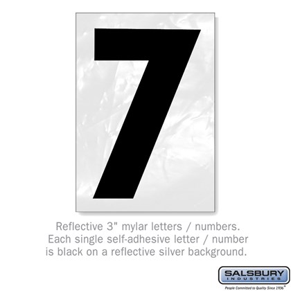 Reflective Number - 3 Inches - 7
