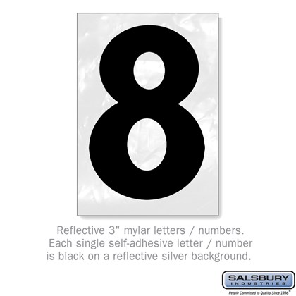 Reflective Number - 3 Inches - 8
