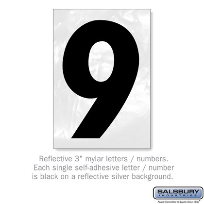 Reflective Number - 3 Inches - 9