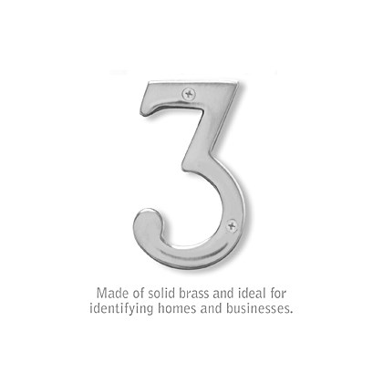 Solid Brass Number - 4 Inches - 3