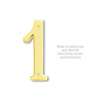 Solid Brass Number - 6 Inches - Brass Finish - 1