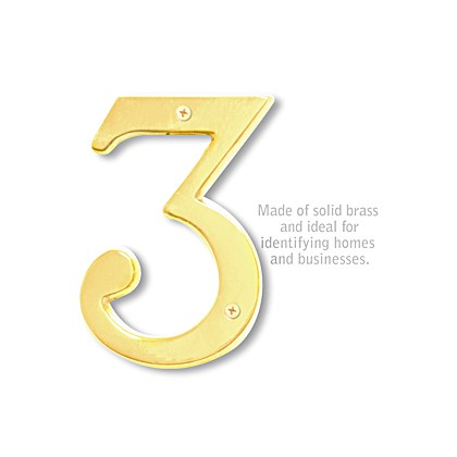 Solid Brass Number - 6 Inches - Brass Finish - 3