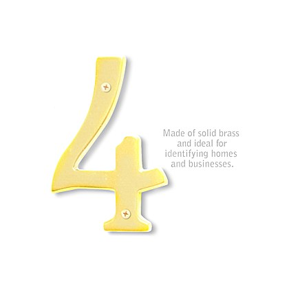 Solid Brass Number - 6 Inches - Brass Finish - 4