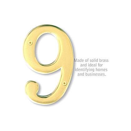 Solid Brass Number - 6 Inches - Brass Finish - 9