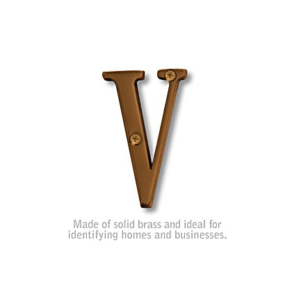 Solid Brass Letter - 3 Inches - V