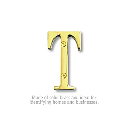 Solid Brass Letter - 3 Inches - Brass Finish - T