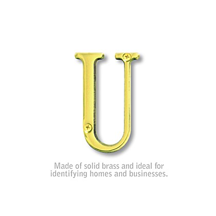 Solid Brass Letter - 3 Inches - Brass Finish - U