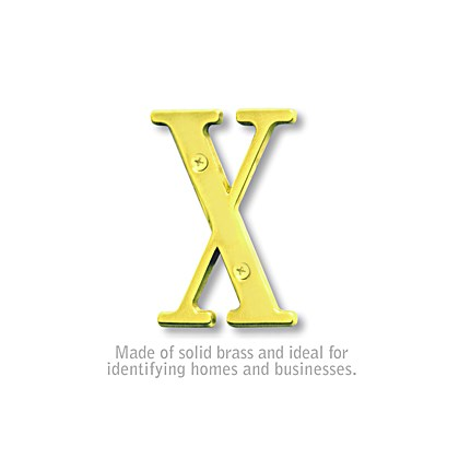 Solid Brass Letter - 3 Inches - Brass Finish - X