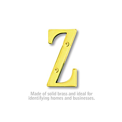 Solid Brass Letter - 3 Inches - Brass Finish - Z