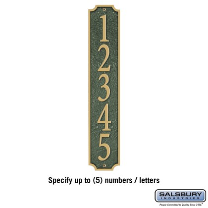 Cast Aluminum Plaque - Column - Green - Gold Characters - Surface Mounted