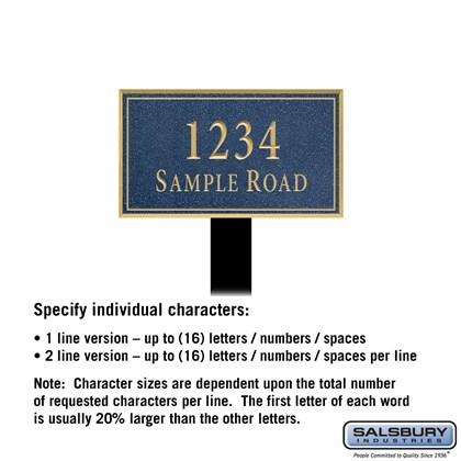 Signature Series Plaque - Rectangular - Small - Cobalt Blue - Gold Characters - No Emblem - Lawn Mounted