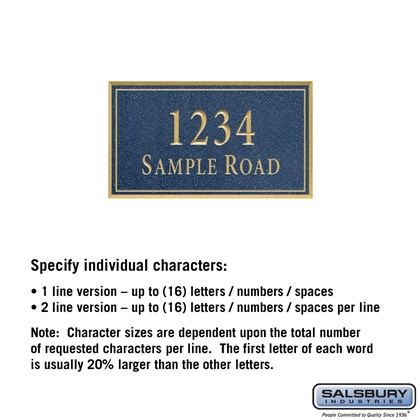 Signature Series Plaque - Rectangular - Small - Cobalt Blue - Gold Characters - No Emblem - Surface Mounted