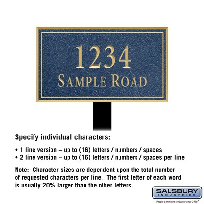 Signature Series Plaque - Rectangular - Medium - Cobalt Blue - Gold Characters - No Emblem - Lawn Mounted