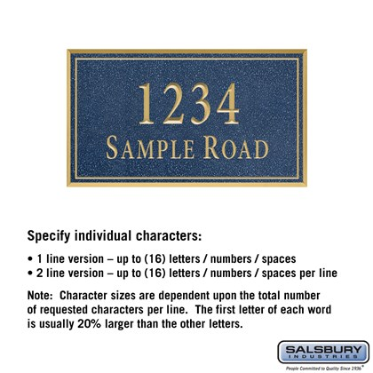 Signature Series Plaque - Rectangular - Medium - Cobalt Blue - Gold Characters - No Emblem - Surface Mounted