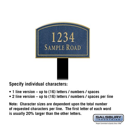 Signature Series Plaque - Arched - Small - Cobalt Blue - Gold Characters - No Emblem - Lawn Mounted