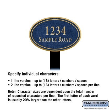 Signature Series Plaque - Oval - Small - Cobalt Blue - Gold Characters - No Emblem - Lawn Mounted