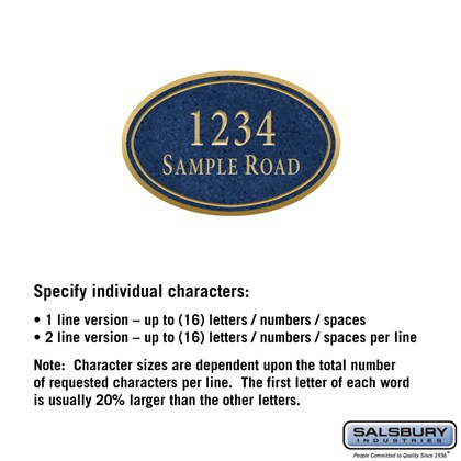 Signature Series Plaque - Oval - Small - Cobalt Blue - Gold Characters - No Emblem - Surface Mounted