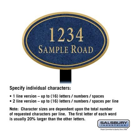 Signature Series Plaque - Oval - Medium - Cobalt Blue - Gold Characters - No Emblem - Lawn Mounted
