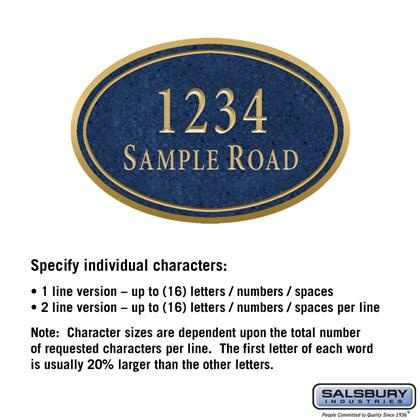 Signature Series Plaque - Oval - Medium - Cobalt Blue - Gold Characters - No Emblem - Surface Mounted
