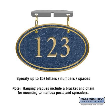 Signature Series Plaque - Oval - Small - Cobalt Blue - Gold Characters - No Emblem - Hanging