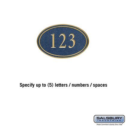 Signature Series Plaque - Oval - Petite - Cobalt Blue - Gold Characters - No Emblem - Surface Mounted