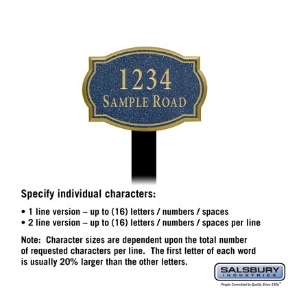 Signature Series Plaque - Classic - Small - Cobalt Blue - Gold Characters - No Emblem - Lawn Mounted