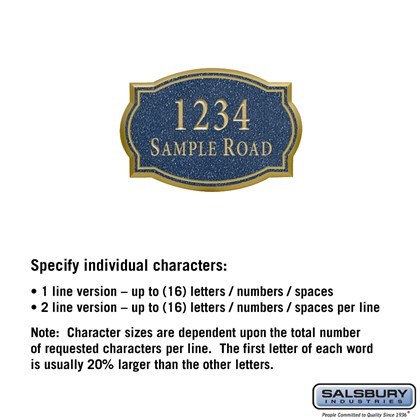 Signature Series Plaque - Classic - Small - Cobalt Blue - Gold Characters - No Emblem - Surface Mounted