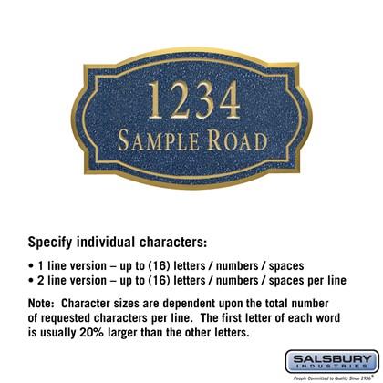 Signature Series Plaque - Classic - Medium - Cobalt Blue - Gold Characters - No Emblem - Surface Mounted