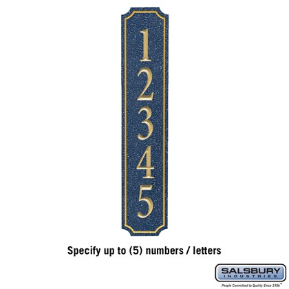 Signature Series Plaque - Column - Cobalt Blue - Gold Characters - No Emblem - Surface Mounted