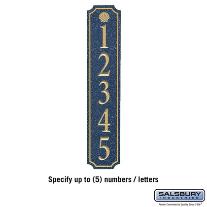 Signature Series Plaque - Column - Cobalt Blue - Gold Characters - Shell - Surface Mounted