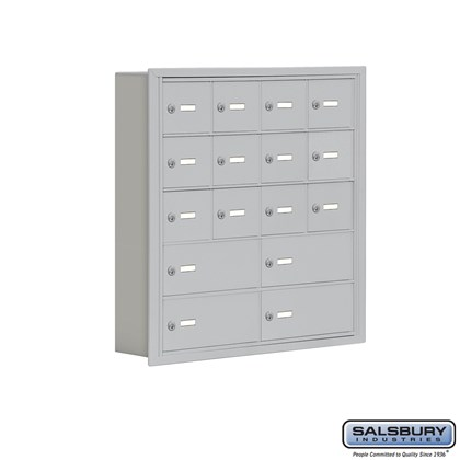 Cell Phone Storage Locker - 5 Door High Unit (5 Inch Deep Compartments) - 12 A Doors and 4 B Doors- Recessed Mounted - Master Keyed Locks