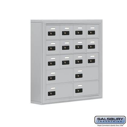 Cell Phone Storage Locker - 5 Door High Unit (5 Inch Deep Compartments) - 12 A Doors and 4 B Doors- Surface Mounted - Resettable Combination Locks