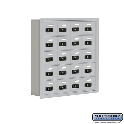 Cell Phone Storage Locker - 5 Door High Unit (5 Inch Deep Compartments) - 20 A Doors- Recessed Mounted - Resettable Combination Locks