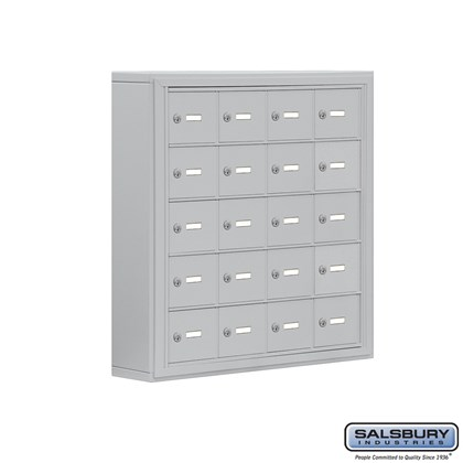 Cell Phone Storage Locker - 5 Door High Unit (5 Inch Deep Compartments) - 20 A Doors- Surface Mounted - Master Keyed Locks