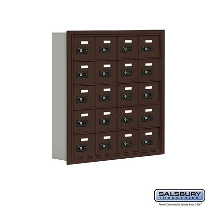 Cell Phone Storage Locker - 5 Door High Unit (5 Inch Deep Compartments) - 20 A Doors - Bronze - Recessed Mounted - Resettable Combination Locks