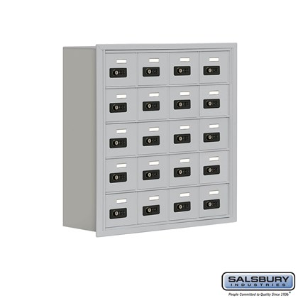 Cell Phone Storage Locker - 5 Door High Unit (8 Inch Deep Compartments) - 20 A Doors- Recessed Mounted - Resettable Combination Locks