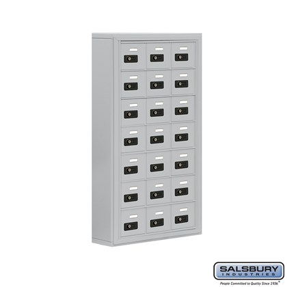 Cell Phone Storage Locker - 7 Door High Unit (5 Inch Deep Compartments) - 21 A Doors- Surface Mounted - Resettable Combination Locks